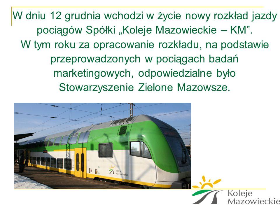 """W dniu 12 grudnia wchodzi w życie nowy rozkład jazdy pociągów Spółki """"Koleje Mazowieckie – KM"""". W tym roku za opracowanie rozkładu, na podstawie przep"""