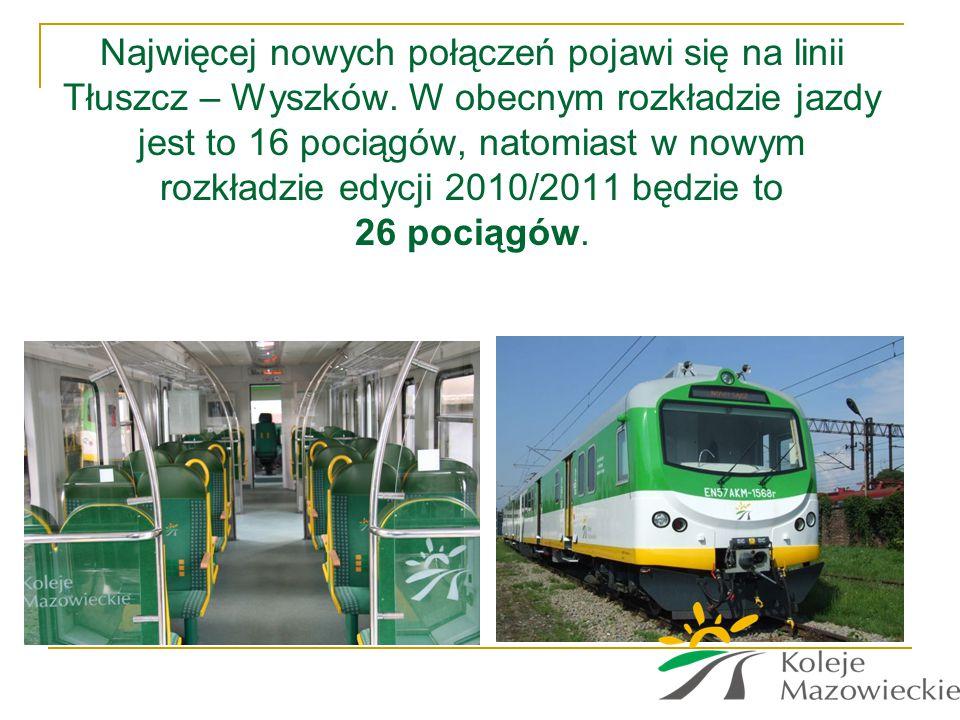 Najwięcej nowych połączeń pojawi się na linii Tłuszcz – Wyszków. W obecnym rozkładzie jazdy jest to 16 pociągów, natomiast w nowym rozkładzie edycji 2