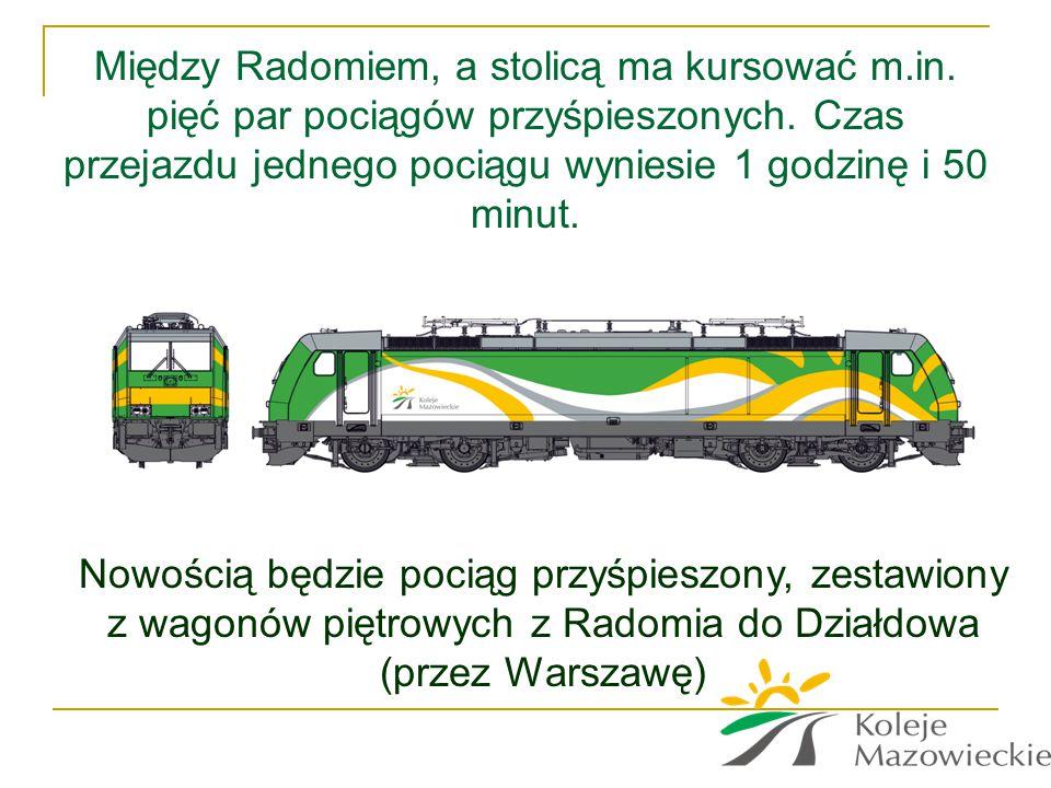 Między Radomiem, a stolicą ma kursować m.in. pięć par pociągów przyśpieszonych. Czas przejazdu jednego pociągu wyniesie 1 godzinę i 50 minut. Nowością