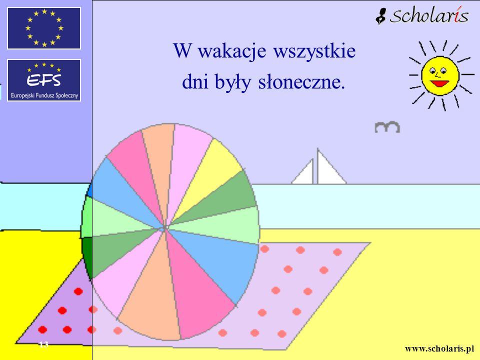 www.scholaris.pl 13 W wakacje wszystkie dni były słoneczne.