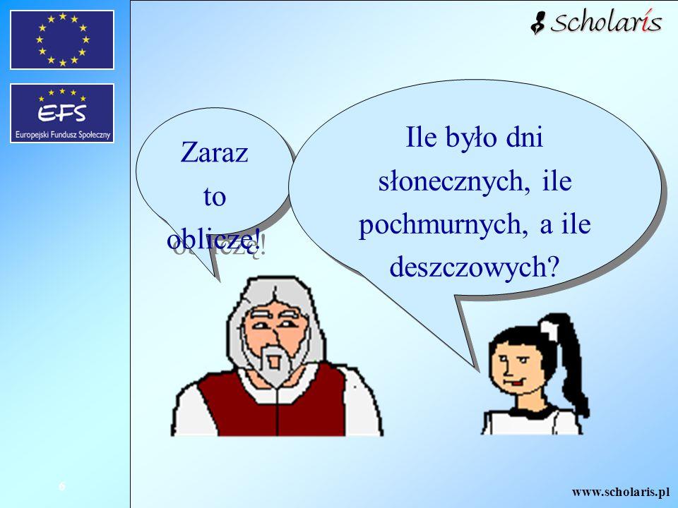 www.scholaris.pl 6 Zaraz to obliczę! Ile było dni słonecznych, ile pochmurnych, a ile deszczowych?