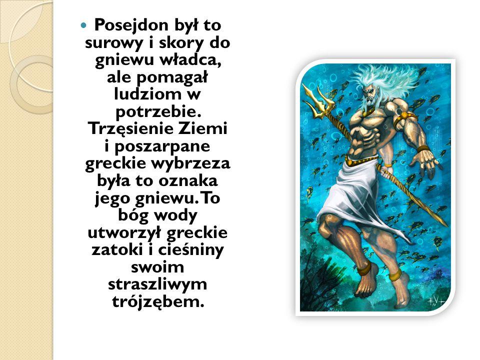 Posejdon był to surowy i skory do gniewu władca, ale pomagał ludziom w potrzebie. Trzęsienie Ziemi i poszarpane greckie wybrzeza była to oznaka jego g