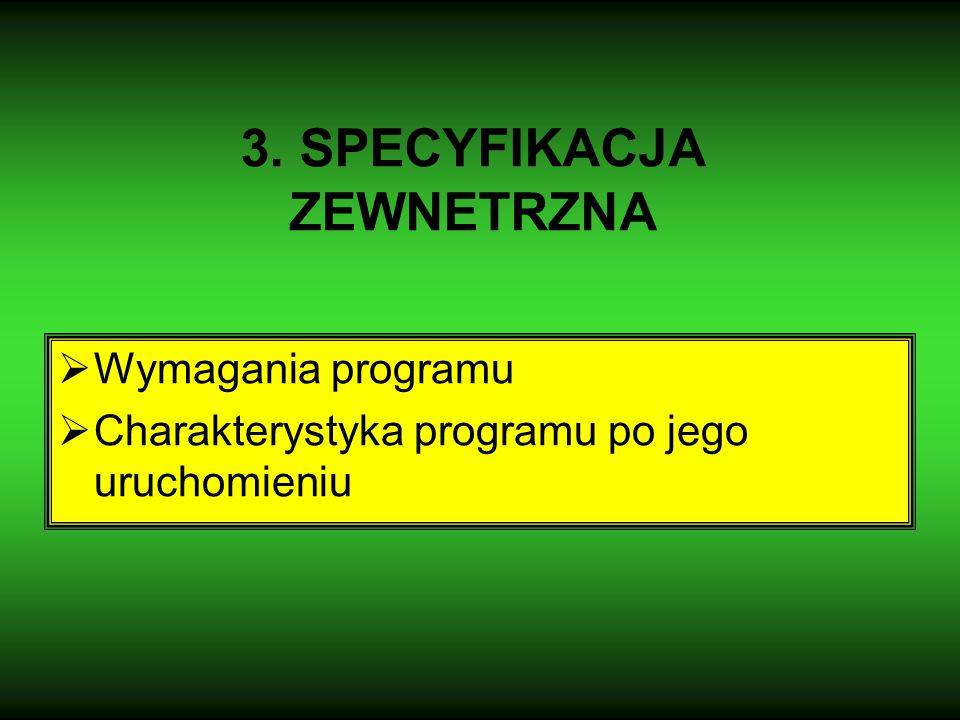 3. SPECYFIKACJA ZEWNETRZNA  Wymagania programu  Charakterystyka programu po jego uruchomieniu