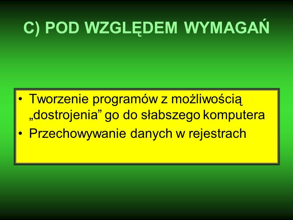 """C) POD WZGLĘDEM WYMAGAŃ Tworzenie programów z możliwością """"dostrojenia go do słabszego komputera Przechowywanie danych w rejestrach"""