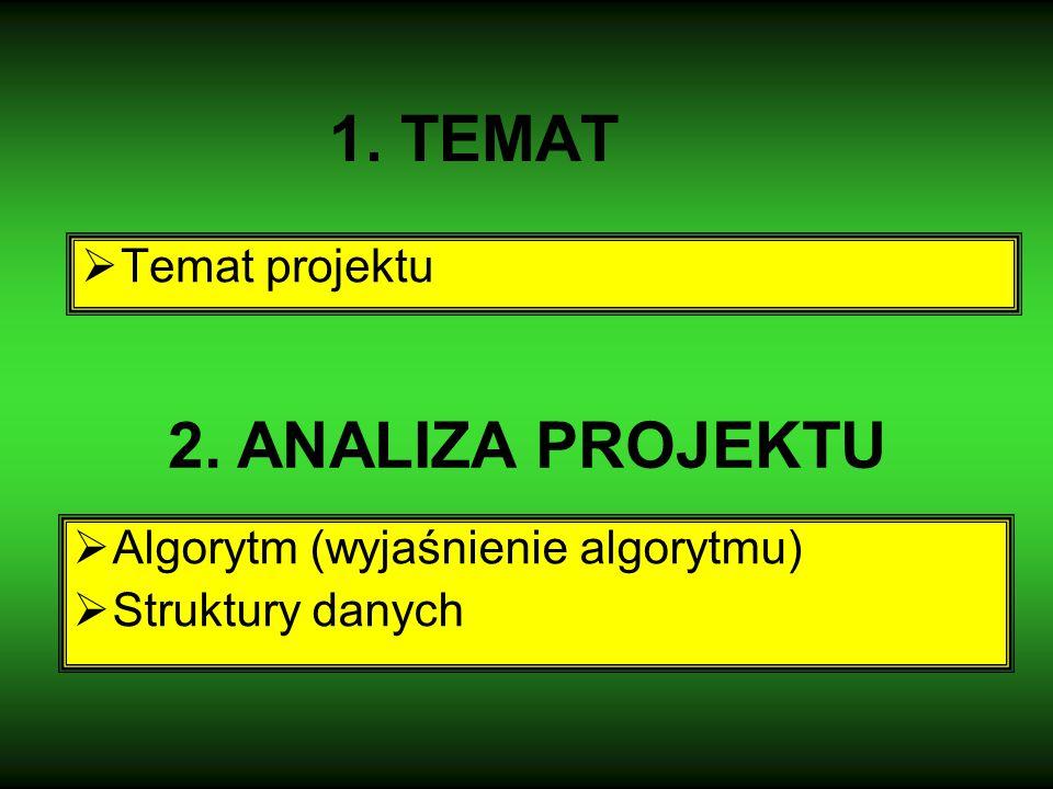 1. TEMAT  Temat projektu 2. ANALIZA PROJEKTU  Algorytm (wyjaśnienie algorytmu)  Struktury danych