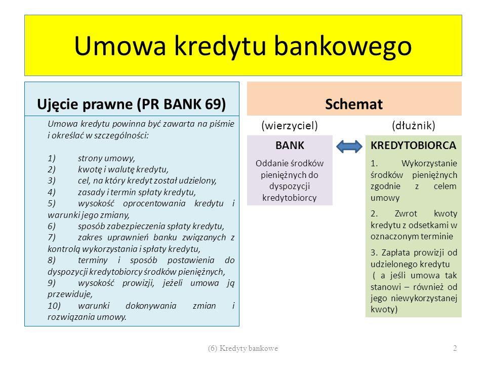 Kredyt a pożyczka Umowa kredytuUmowa pożyczki Prawo bankoweŹRÓDŁO PRAWAKodeks cywilny BankWIERZYCIELKażdy podmiot mający zdolność do czynności prawnych Tylko środki pieniężnePRZEDMIOT UMOWYŚrodki pieniężne lub rzeczy oznaczone co do gatunku PisemnaFORMA UMOWYPisemna, gdy wartość umowy > 500 zł Pozostaje przy bankuKWESTIA WŁASNOŚCIPrzenoszona na pożyczkobiorcę Cel i odpłatność - obligatoryjneINNE ELEMENTYCel i odpłatność – niekonieczne 3(6) Kredyty bankowe