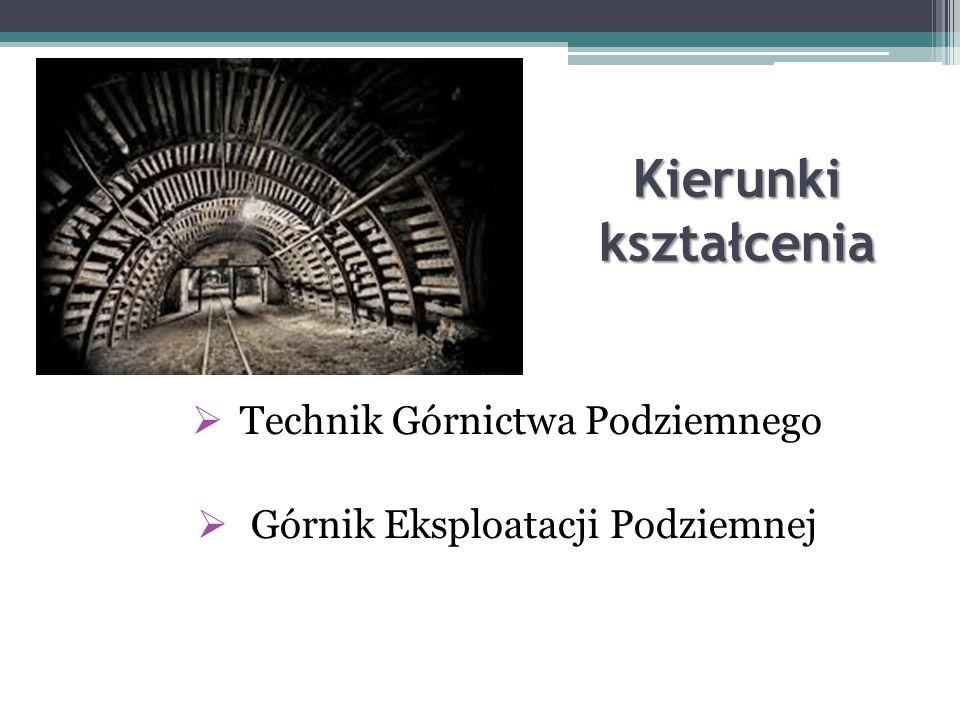 Kierunki kształcenia  Technik Górnictwa Podziemnego  Górnik Eksploatacji Podziemnej