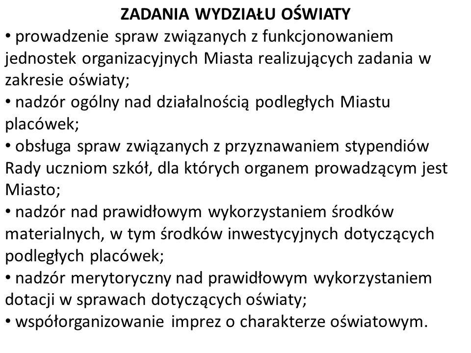 ZADANIA WYDZIAŁU OŚWIATY prowadzenie spraw związanych z funkcjonowaniem jednostek organizacyjnych Miasta realizujących zadania w zakresie oświaty; nad