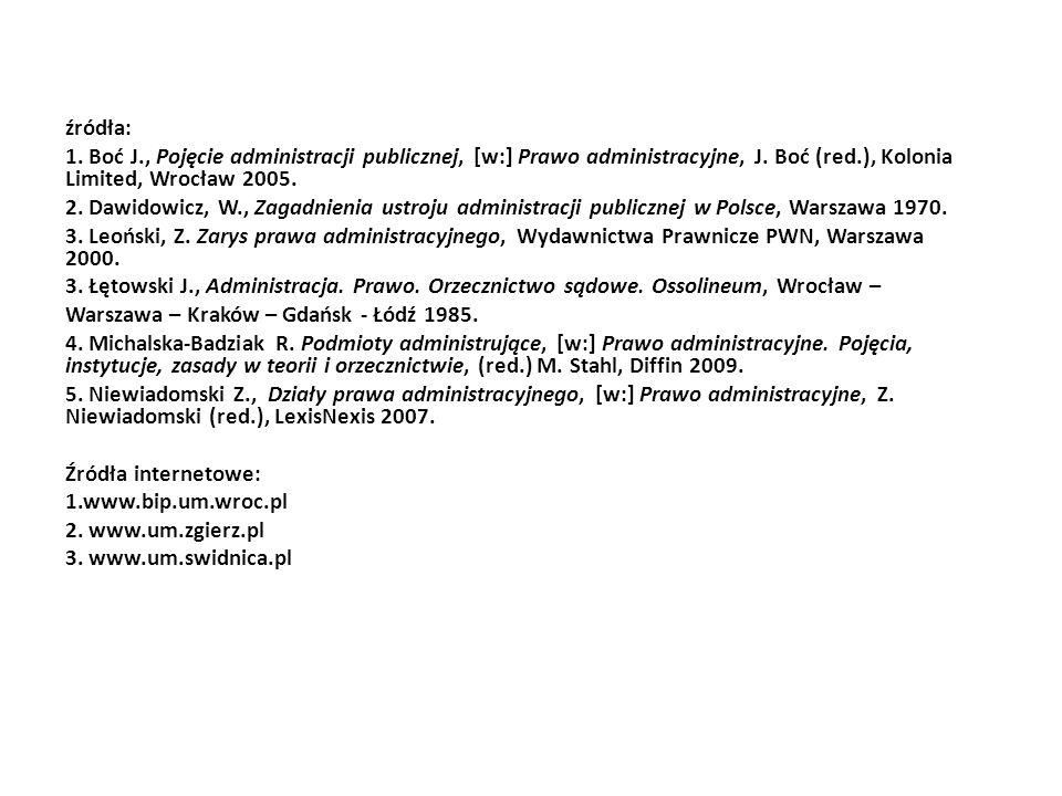 źródła: 1. Boć J., Pojęcie administracji publicznej, [w:] Prawo administracyjne, J. Boć (red.), Kolonia Limited, Wrocław 2005. 2. Dawidowicz, W., Zaga