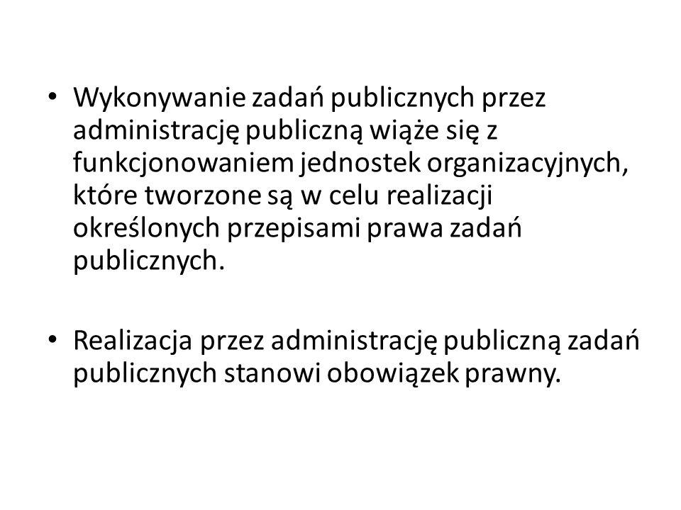 Wykonywanie zadań publicznych przez administrację publiczną wiąże się z funkcjonowaniem jednostek organizacyjnych, które tworzone są w celu realizacji