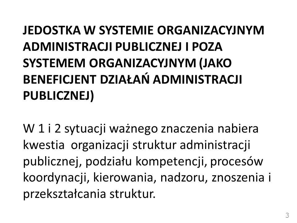 JEDOSTKA W SYSTEMIE ORGANIZACYJNYM ADMINISTRACJI PUBLICZNEJ I POZA SYSTEMEM ORGANIZACYJNYM (JAKO BENEFICJENT DZIAŁAŃ ADMINISTRACJI PUBLICZNEJ)  W 1 i