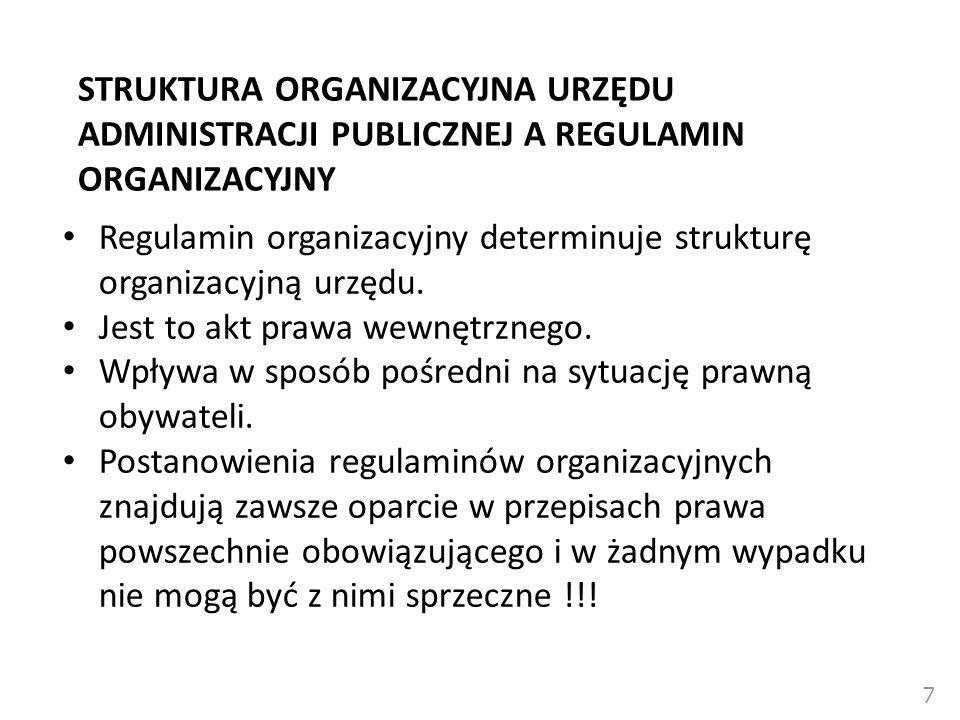 STRUKTURA ORGANIZACYJNA URZĘDU ADMINISTRACJI PUBLICZNEJ A REGULAMIN ORGANIZACYJNY Regulamin organizacyjny determinuje strukturę organizacyjną urzędu.