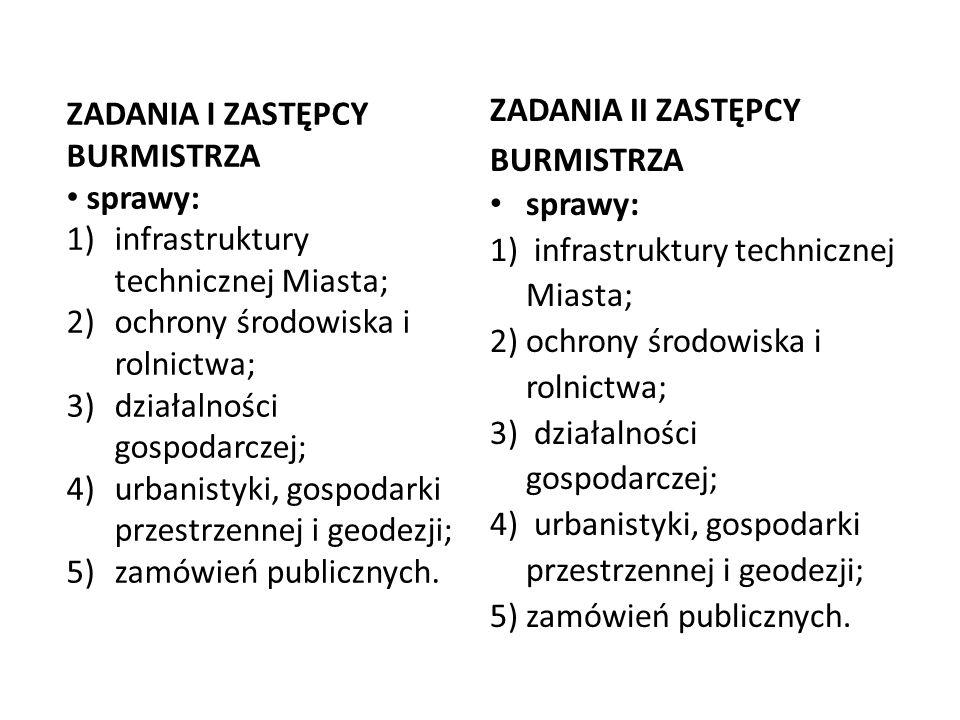ZADANIA II ZASTĘPCY BURMISTRZA sprawy: 1) infrastruktury technicznej Miasta; 2)ochrony środowiska i rolnictwa; 3) działalności gospodarczej; 4) urbani