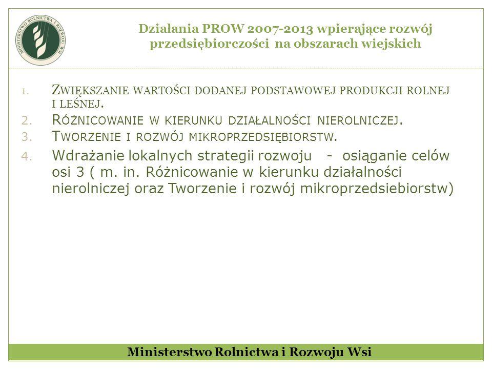 Kwoty pomocy wypłacone w poszczególnych latach w ramach PROW 2007-2013 Ministerstwo Rolnictwa i Rozwoju Wsi