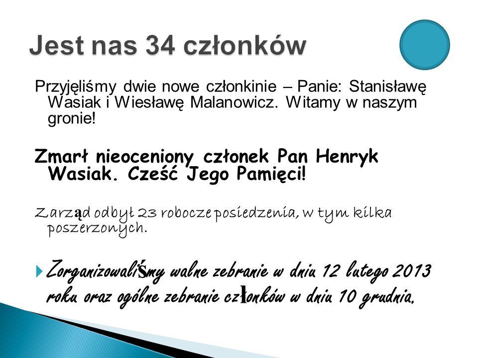 Przyjęliśmy dwie nowe członkinie – Panie: Stanisławę Wasiak i Wiesławę Malanowicz.