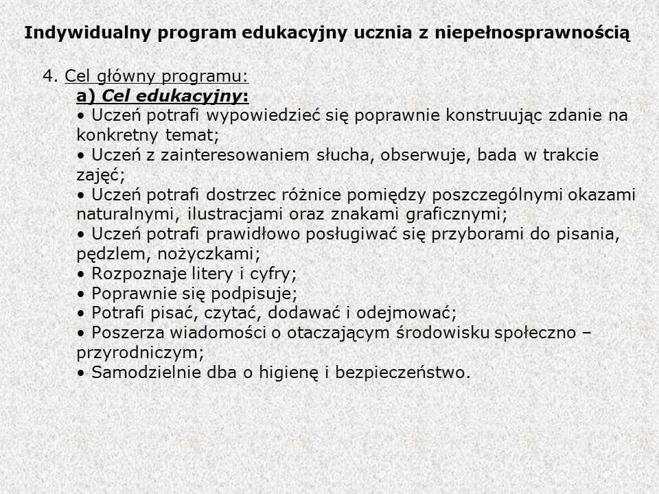 Indywidualny program edukacyjny ucznia z niepełnosprawnością 4.