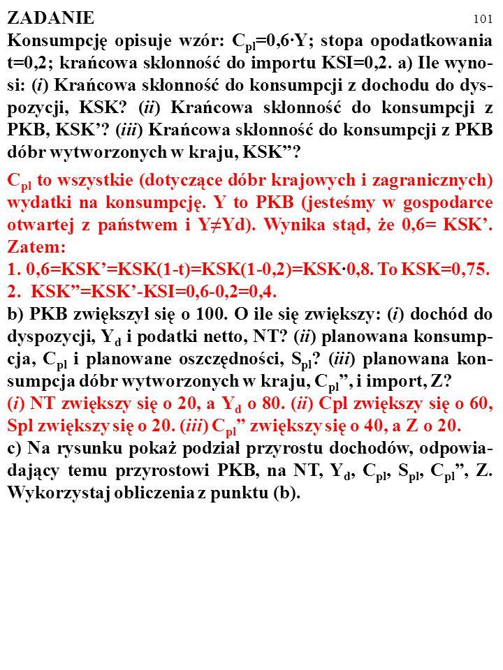 100 ZADANIE Konsumpcję opisuje wzór: C pl =0,6·Y; stopa opodatkowania t=0,2; krańcowa skłonność do importu KSI=0,2. a) Ile wyno- si: (i) Krańcowa skło
