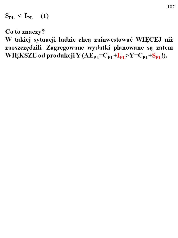 106 S PL ≠ I PL. Zatem w stanie krótkookresowej nierównowagi: S PL < I PL (1) lub S PL > I PL (2)