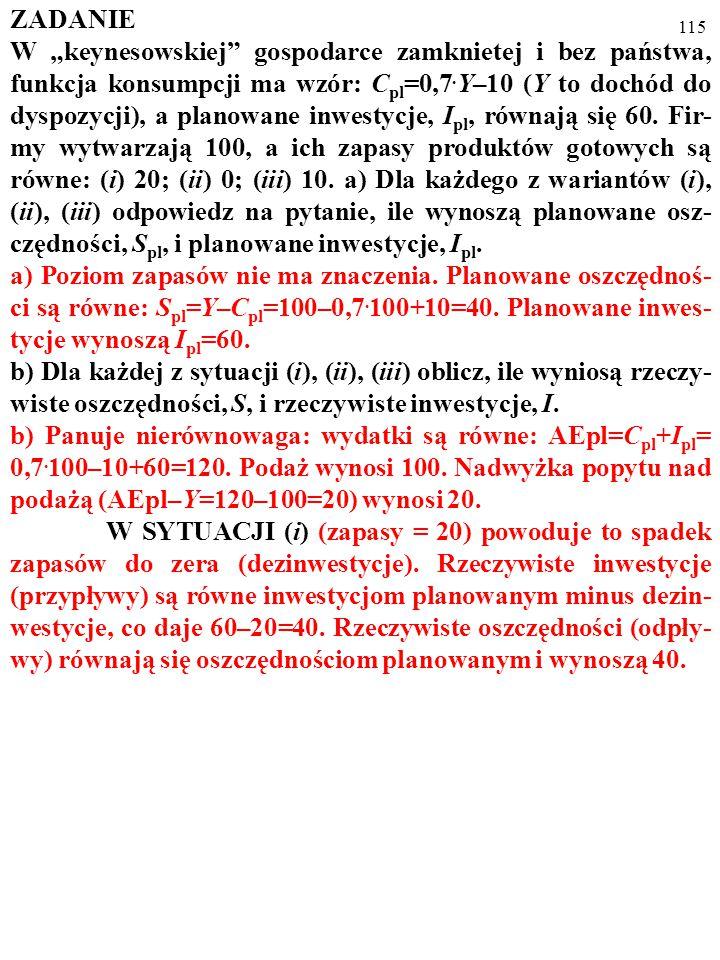 """114 ZADANIE W """"keynesowskiej"""" gospodarce zamknietej i bez państwa, funkcja konsumpcji ma wzór: C pl =0,7. Y–10 (Y to dochód do dyspozycji), a planowan"""