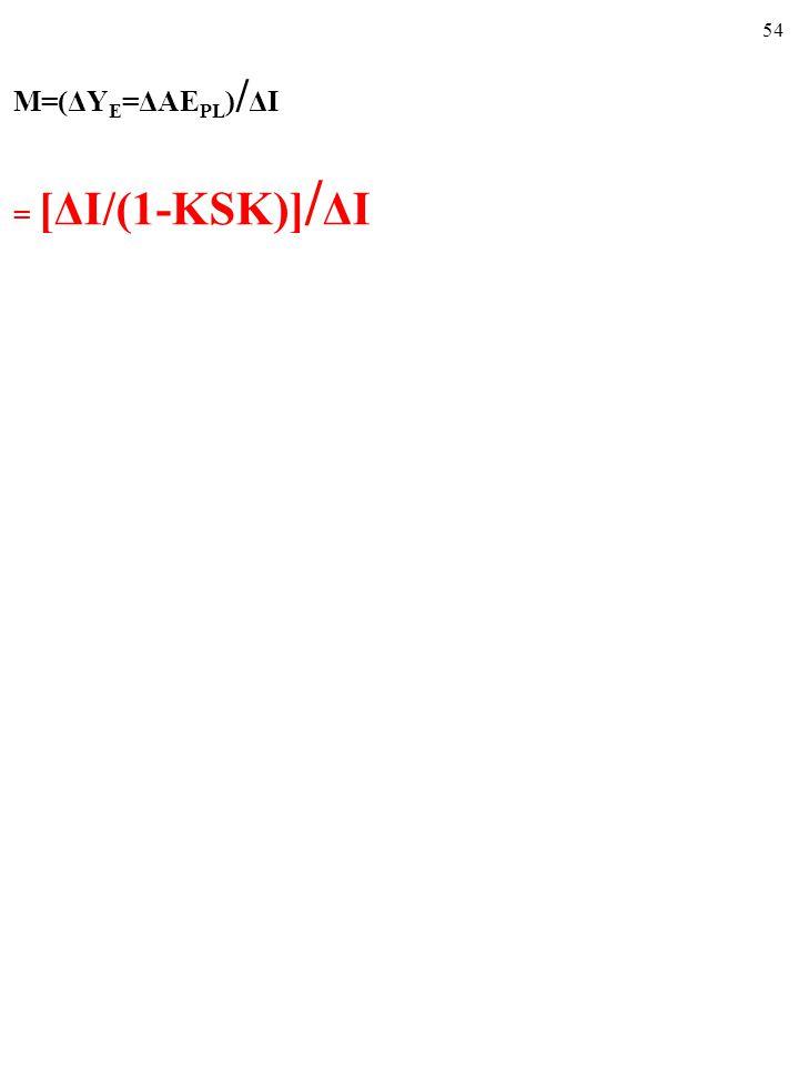 53 ■ Mnożnik, M, to LICZBA, równa stosunkowi CAŁEJ zmiany wielkości produkcji, która odpowiada równowadze całkowitej, ΔY E, do będącej przyczyną tej c
