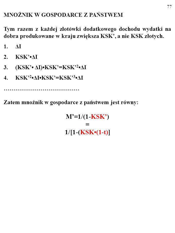 76 C PL =KSKY D +C a =KSK(1-t)Y+C a =KSK' Y+C a KSK' = KSK(1-t). KSK'<KSK, więc nachylenie wykresu funkcji konsumpcji w gospo- darce z państwem (a wię
