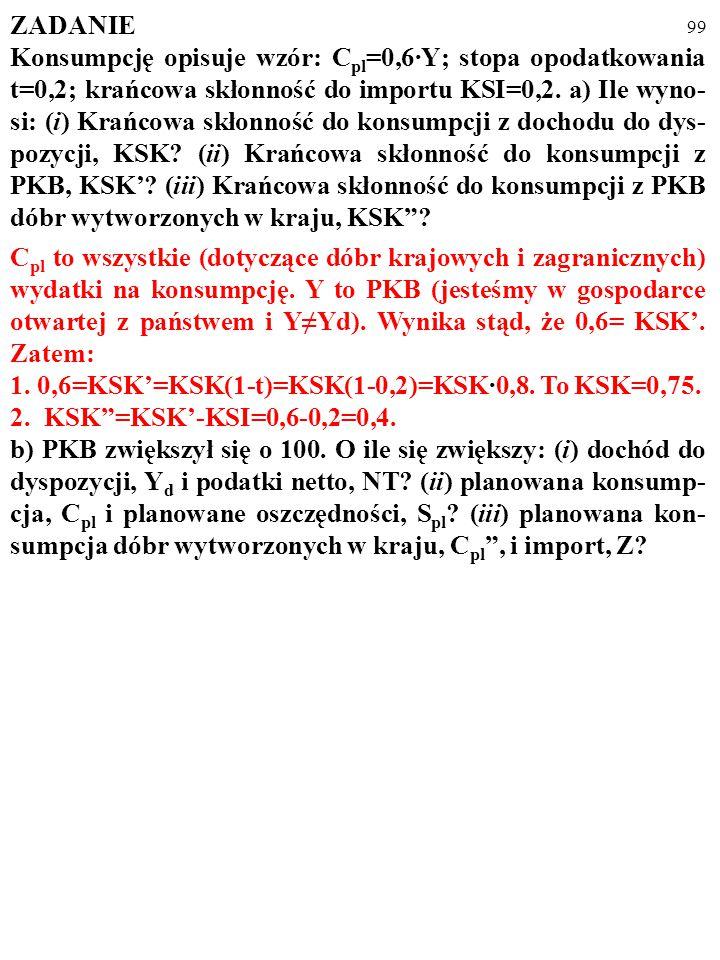 98 ZADANIE Konsumpcję opisuje wzór: C pl =0,6·Y; stopa opodatkowania t=0,2; krańcowa skłonność do importu KSI=0,2. a) Ile wyno- si: (i) Krańcowa skłon