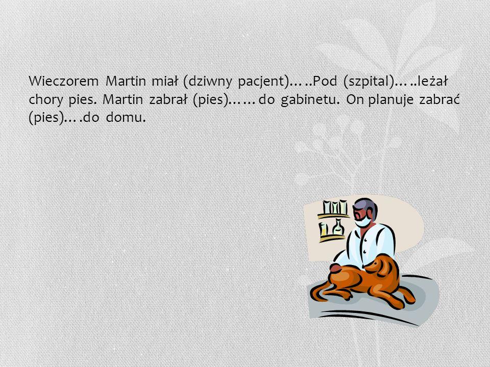 Wieczorem Martin miał (dziwny pacjent)…..Pod (szpital)…..leżał chory pies.