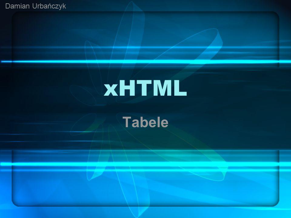 Podstawy budowy tabel Strony WWW mogą zawierać w sobie tabele, czasem te tabele mogą tworzyć strukturę strony, odpowiadającą za poszczególne elementy – menu, część główną, nagłówek i stopkę.