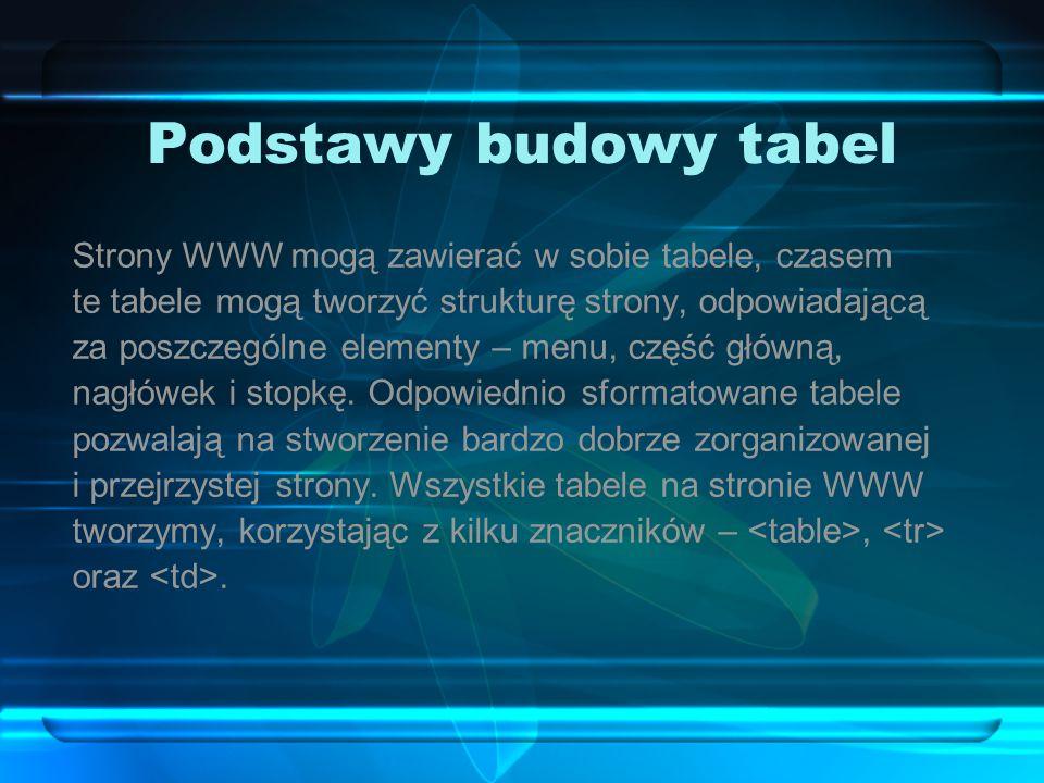 Podstawy budowy tabel Strony WWW mogą zawierać w sobie tabele, czasem te tabele mogą tworzyć strukturę strony, odpowiadającą za poszczególne elementy