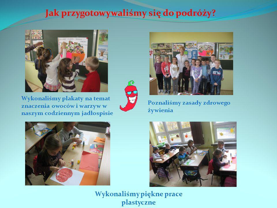 Jak przygotowywaliśmy się do podróży? Wykonaliśmy plakaty na temat znaczenia owoców i warzyw w naszym codziennym jadłospisie Poznaliśmy zasady zdroweg
