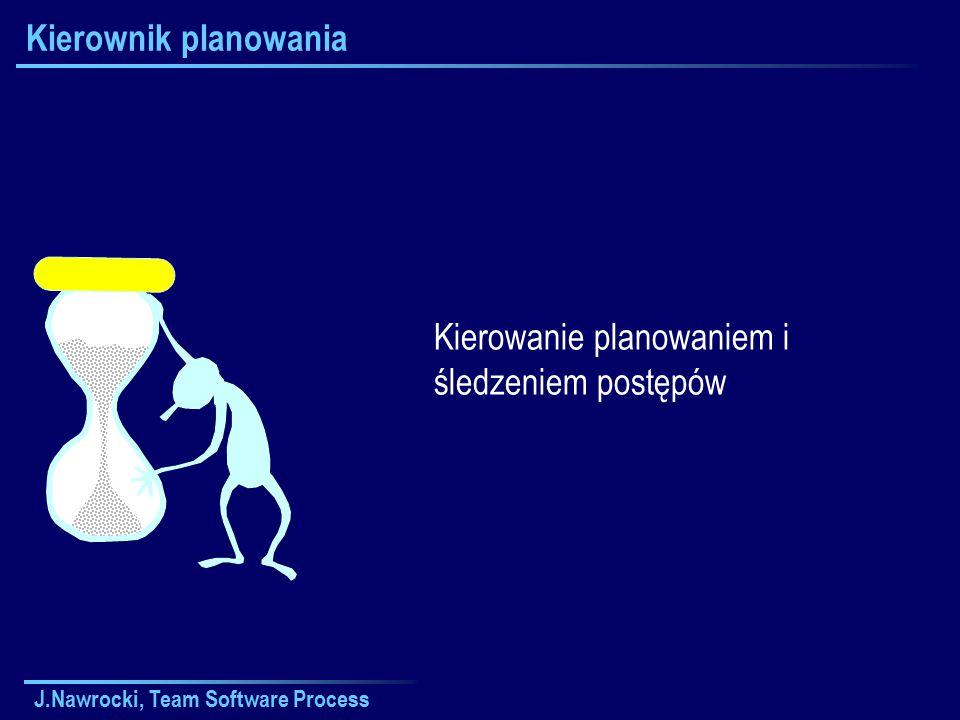 J.Nawrocki, Team Software Process Kierownik planowania Kierowanie planowaniem i śledzeniem postępów