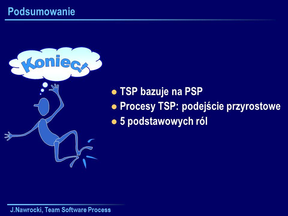 J.Nawrocki, Team Software Process Podsumowanie TSP bazuje na PSP Procesy TSP: podejście przyrostowe 5 podstawowych ról