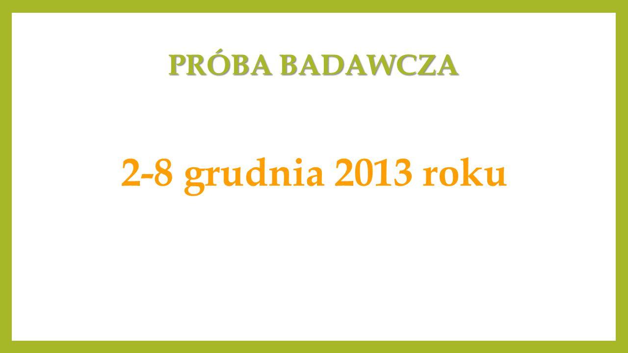 PRÓBA BADAWCZA 2-8 grudnia 2013 roku