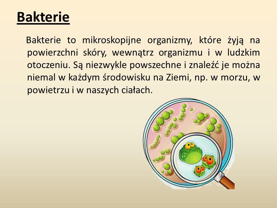 Bakterie Bakterie to mikroskopijne organizmy, które żyją na powierzchni skóry, wewnątrz organizmu i w ludzkim otoczeniu.