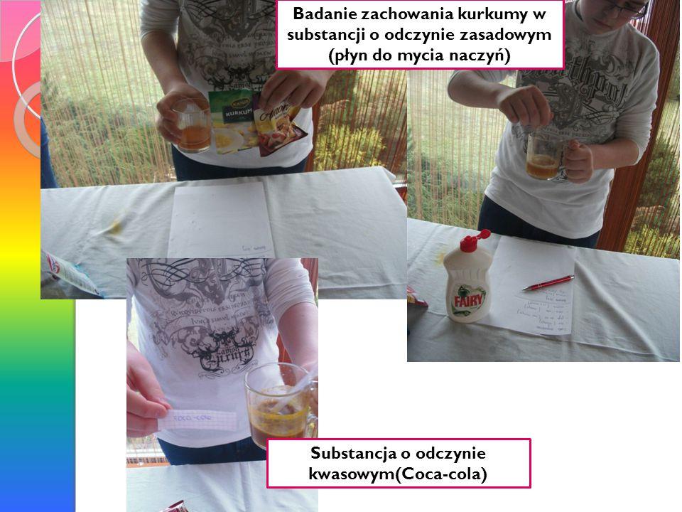 Badanie zachowania kurkumy w substancji o odczynie zasadowym (płyn do mycia naczyń) Substancja o odczynie kwasowym(Coca-cola)