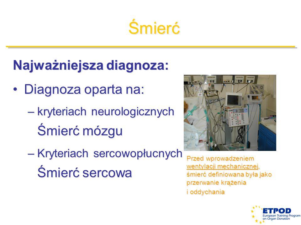 Śmierć Najważniejsza diagnoza: Diagnoza oparta na:Diagnoza oparta na: –kryteriach neurologicznych Śmierć mózgu –Kryteriach sercowopłucnych Śmierć serc