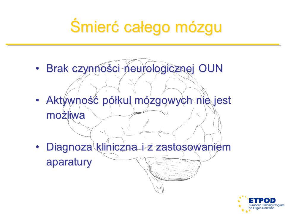 Śmierć całego mózgu Brak czynności neurologicznej OUNBrak czynności neurologicznej OUN Aktywność półkul mózgowych nie jest możliwaAktywność półkul móz