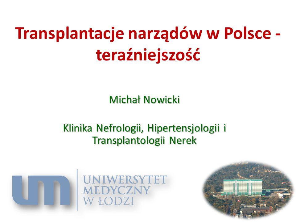 Transplantacje narządów w Polsce - teraźniejszość Michał Nowicki Klinika Nefrologii, Hipertensjologii i Transplantologii Nerek