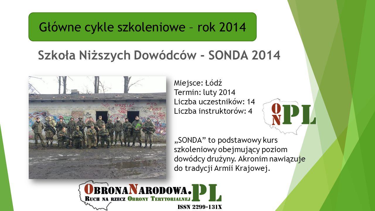 Główne cykle szkoleniowe – rok 2014 Szkoła Niższych Dowódców - SONDA 2014 Miejsce: Łódź Termin: luty 2014 Liczba uczestników: 14 Liczba instruktorów: