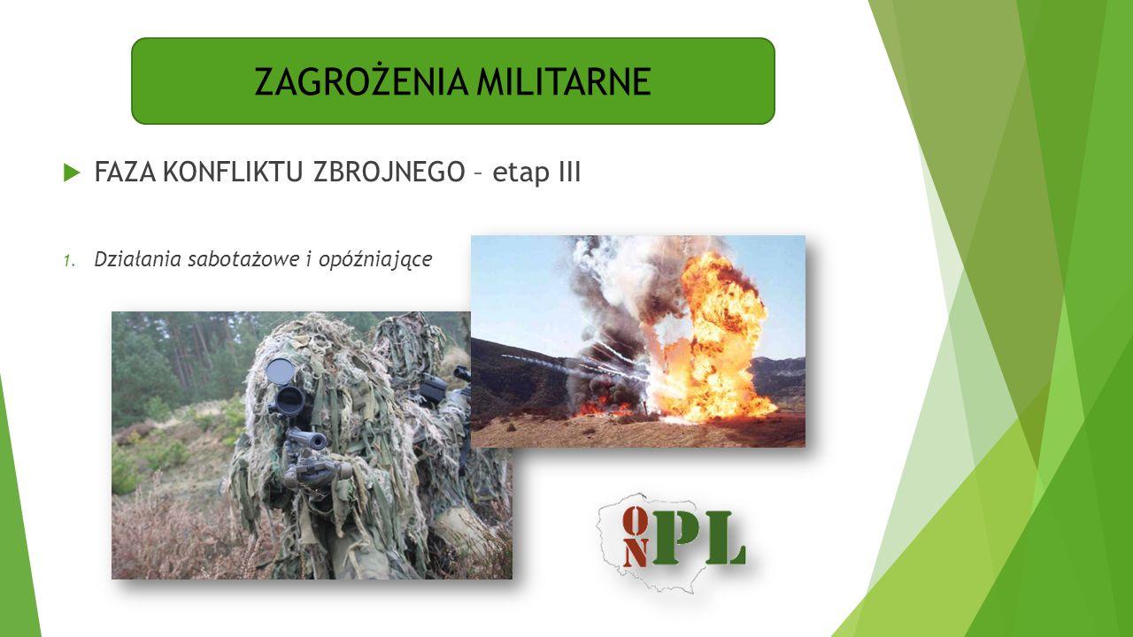 ZAGROŻENIA MILITARNE  FAZA KONFLIKTU ZBROJNEGO – etap III 1. Działania sabotażowe i opóźniające