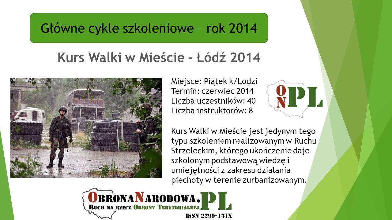 Główne cykle szkoleniowe – rok 2014 Kurs Walki w Mieście – Łódź 2014 Miejsce: Piątek k/Łodzi Termin: czerwiec 2014 Liczba uczestników: 40 Liczba instr