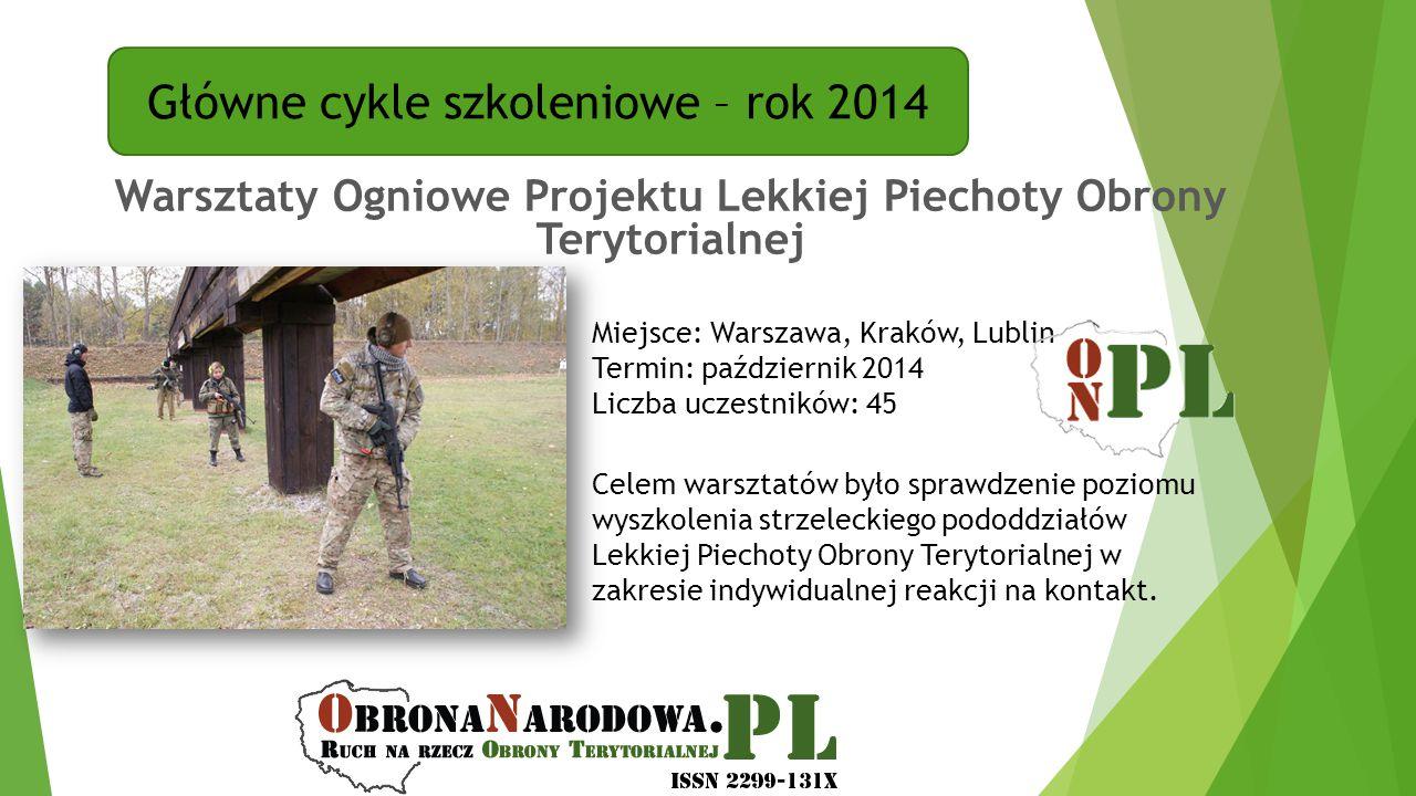 Główne cykle szkoleniowe – rok 2014 Warsztaty Ogniowe Projektu Lekkiej Piechoty Obrony Terytorialnej Miejsce: Warszawa, Kraków, Lublin Termin: paździe