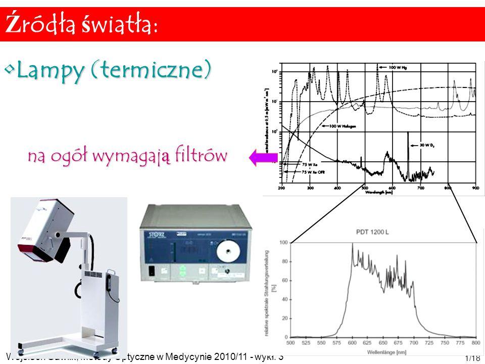Wojciech Gawlik, Metody Optyczne w Medycynie 2010/11 - wykł. 3 1/18 Lampy (termiczne)Lampy (termiczne) na ogół wymagają filtrów Źródła światła: