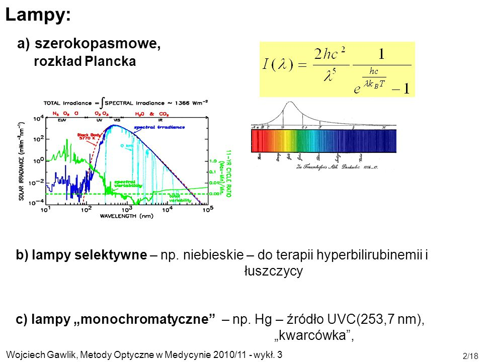 Wojciech Gawlik, Metody Optyczne w Medycynie 2010/11 - wykł. 3 2/18 Lampy: a) szerokopasmowe, rozkład Plancka b) lampy selektywne – np. niebieskie – d