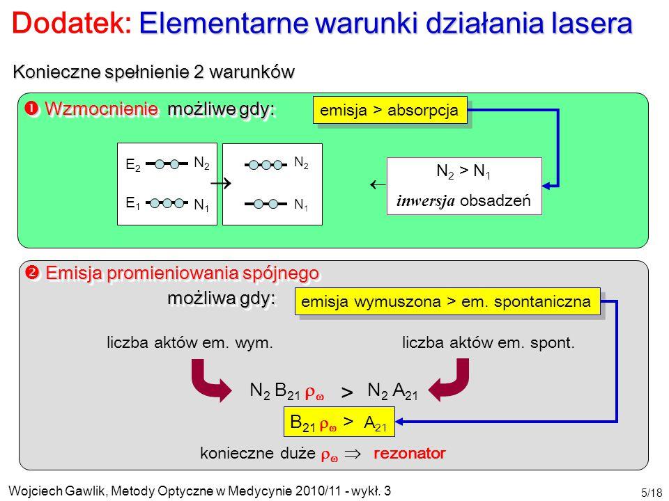 Wojciech Gawlik, Metody Optyczne w Medycynie 2010/11 - wykł. 3 5/18 Elementarne warunki działania lasera Dodatek: Elementarne warunki działania lasera