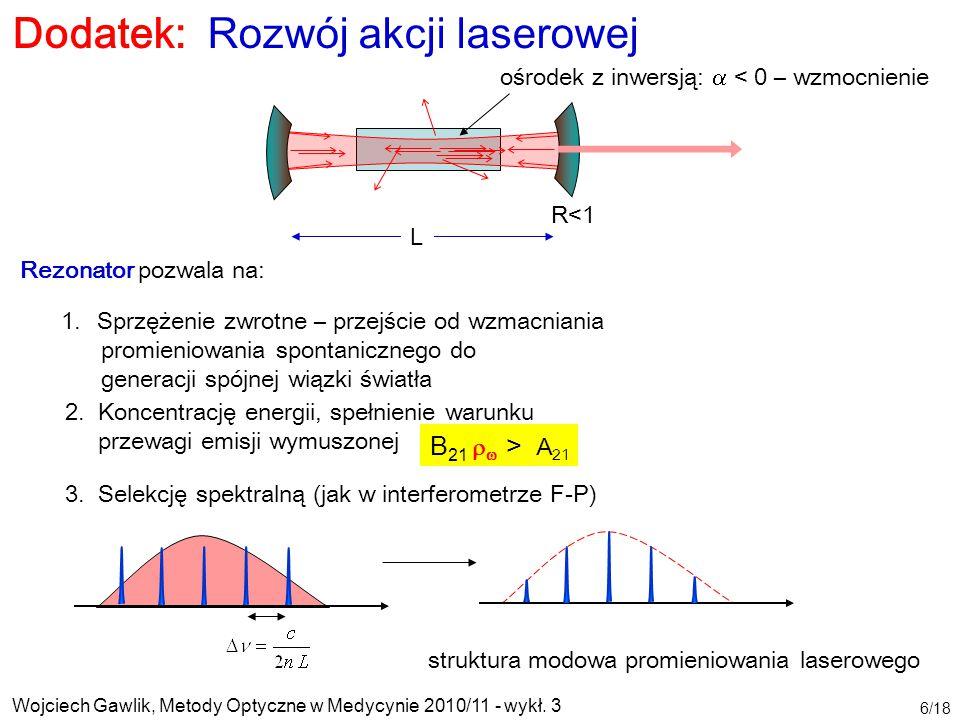 Wojciech Gawlik, Metody Optyczne w Medycynie 2010/11 - wykł. 3 6/18 2. Koncentrację energii, spełnienie warunku przewagi emisji wymuszonej Dodatek: Ro