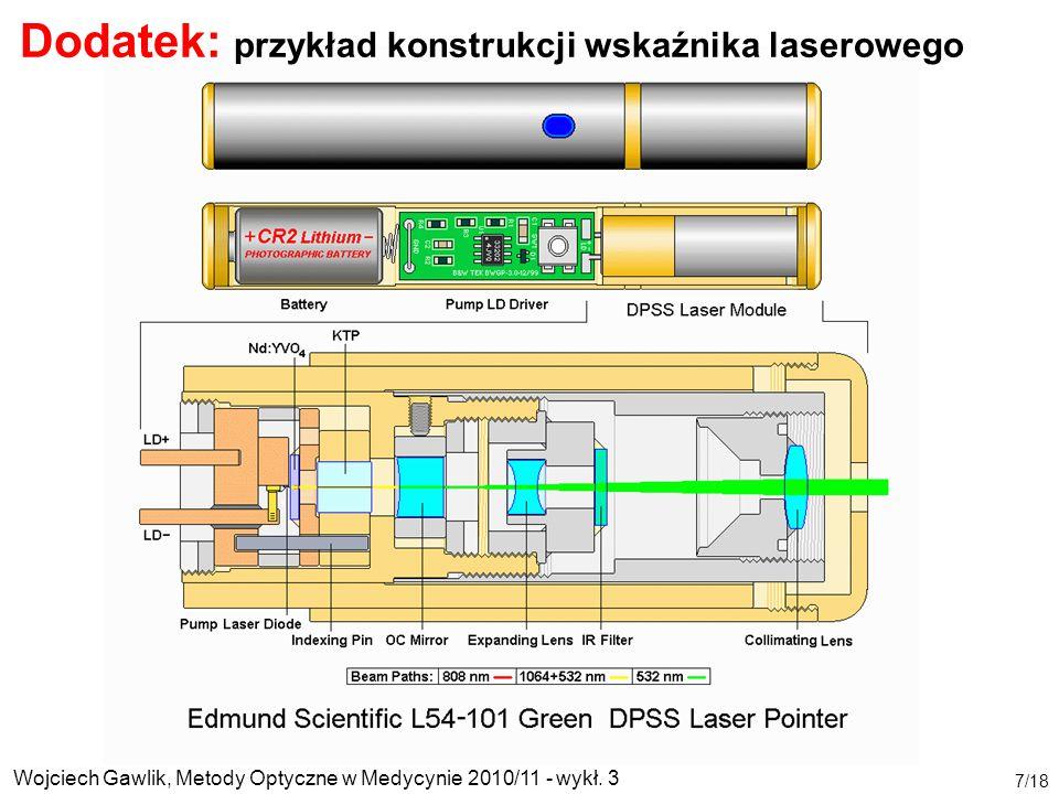 Wojciech Gawlik, Metody Optyczne w Medycynie 2010/11 - wykł. 3 7/18 Dodatek: przykład konstrukcji wskaźnika laserowego