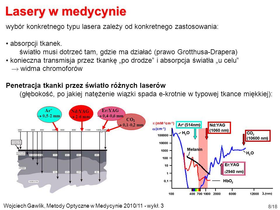 Wojciech Gawlik, Metody Optyczne w Medycynie 2010/11 - wykł. 3 8/18 wybór konkretnego typu lasera zależy od konkretnego zastosowania: absorpcji tkanek