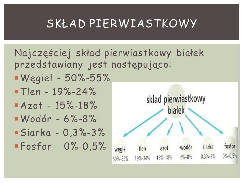Najczęściej skład pierwiastkowy białek przedstawiany jest następująco:  Węgiel - 50%-55%  Tlen - 19%-24%  Azot - 15%-18%  Wodór - 6%-8%  Siarka -