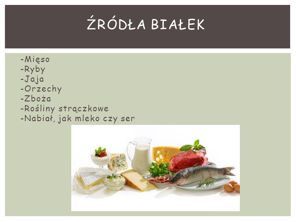 -Mięso -Ryby -Jaja -Orzechy -Zboża -Rośliny strączkowe -Nabiał, jak mleko czy ser ŹRÓDŁA BIAŁEK